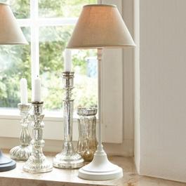 Tischlampe Swindon antikweiß/beige